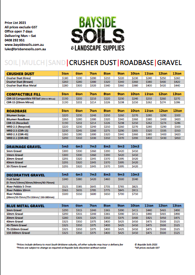 Bayside Soils Price List 2021